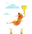 Winning Red Happy Dog Throwing Up on Arms with Cup vector image
