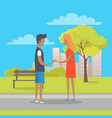 young boy and girl in love stand on park path vector image vector image