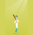 young caucasian baseball player with a bat vector image vector image