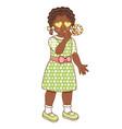 flat african black girl whistling vector image