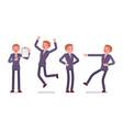 set of businessman showing positive emotions vector image