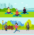 active recreation horizontal banners vector image