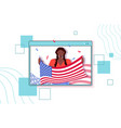 african american woman holding usa flag vector image vector image