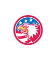 American Bald Eagle Head Flag Circle Retro vector image vector image