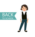 back to school little girl icon vector image