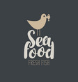 banner for seafood with a seagull and fish vector image vector image