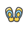 beach slippers swimming shoes icon cartoon vector image