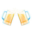beer mugs cheers with splashes of foam vector image