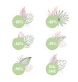 big sale and discount tropical stickers vector image vector image