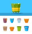 bucket cartoon plastic wooden and metallic empty vector image vector image