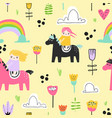 childish seamless pattern with cute girls on pony vector image vector image
