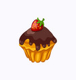 chocolate glazed muffin with strawberry isolated vector image vector image