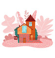cozy little fairy house on pink landscape cottage vector image vector image