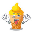 crazy banana ice cream in cone character vector image vector image