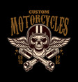 custom motorcycles vintage racer skull in winged vector image vector image
