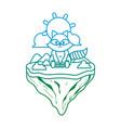 degraded line cute raccoon animal in float island vector image vector image