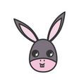 donkey head animal cartoon icon on white vector image