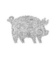 drawing zentangle pig for coloring book for adult vector image