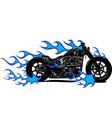 flaming bike chopper ride vector image