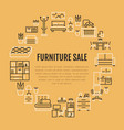 furniture sale banner with flat line vector image vector image