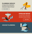 house plumbing service and pipeline repair vector image vector image