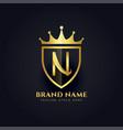letter n crown golden premium logo design vector image vector image