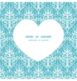 light blue swirls damask heart silhouette pattern vector image
