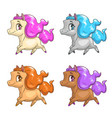little cute cartoon pony icons vector image vector image
