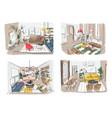 modern living room interior set furnished drawing vector image vector image