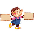 monkey with wooden banner vector image vector image