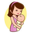 mother holding her baby vector image