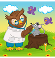 owl doctor with stethoscope vector image vector image
