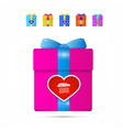 Present Box Gift Box with Heart vector image vector image