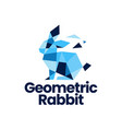 rabbit hare bunny geometric polygonal tech logo vector image vector image