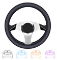 realistic steering wheel and set outline back vector image