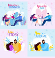 romantic dinner date love story you and me banner vector image vector image
