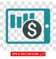 Sales Chart On PDA Icon vector image vector image