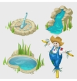 Scarecrow fountain pool and decorative elements vector image vector image