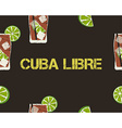 Seamless Pattern of Cuba Libre cocktail with lime vector image