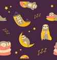 seamless pattern with cute sleepy dreaming sloths vector image vector image