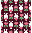 seamless with cute rabbits vector image