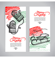 Set of Christmas Hand drawn winter banners vector image