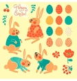 Set of elements for design Happy Easter vector image vector image