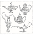 Set of Magic arabic lamp holy month for muslim vector image vector image