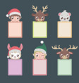 set of six notepads with christmas characters vector image vector image