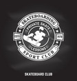 skateboarding sport club sign on the chalkboard vector image vector image