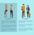 students collection of posters depicting adults vector image vector image