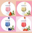 summer cocktail fruits set fresh drink vector image vector image