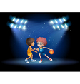 Two boys playing basketball at the center of the vector image vector image