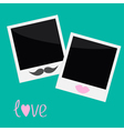 Two Instant photos with lips and moustache vector image vector image